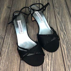 Caparros Strappy Black Dress Heel Shoes